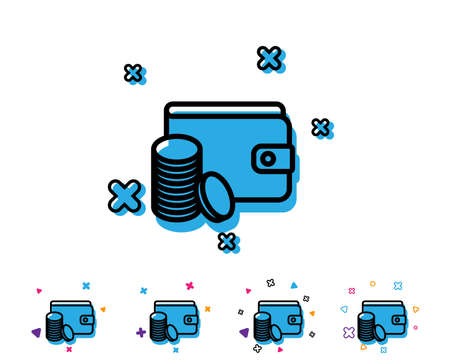 Wallet with Coins line icon. Cash money sign. Payment method symbol. Line icon with geometric elements. Bright colourful design. Vector