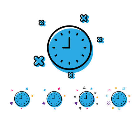 Clock line icon. Time sign. Office Watch or Timer symbol. Line icon with geometric elements. Bright colourful design. Vector