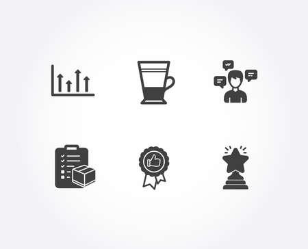 Set of Upper arrows, Conversation messages and Double latte icons. Positive feedback, Parcel checklist and Winner signs. Growth infochart, Communication, Tea cup. Vector Ilustración de vector