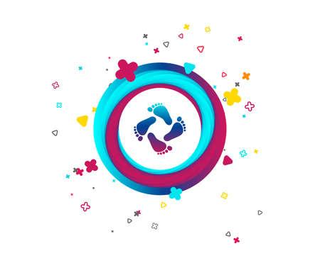 Baby Fußabdruck Symbol. Kinder barfuß Schritte. Kleinkind Füße Symbol. Bunter Knopf mit Symbol. Geometrische Elemente. Vektor Vektorgrafik