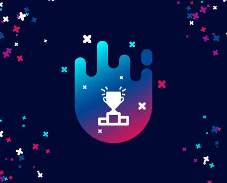 Winner podium simple icon. Sports Trophy symbol. Championship achievement sign. Cool banner with icon. Abstract shape with gradient. Vector