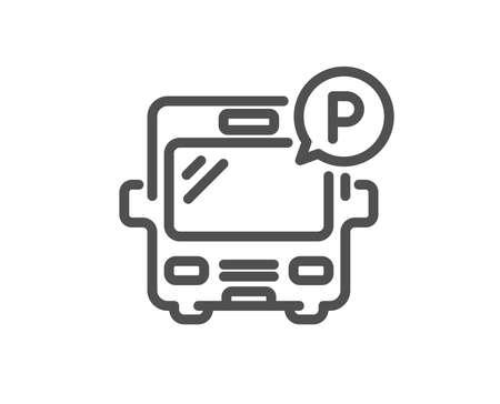 Bus parking line icon. Auto park sign. Transport place symbol. Quality design element. Classic style bus. Editable stroke. Vector