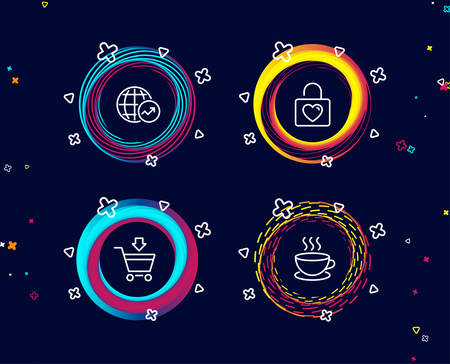 Set of Online market, Wedding locker and World statistics icons. Cappuccino sign. Shopping cart, Valentines day, Global report. Espresso cup.  Circle banners with line icons. Gradient colors shapes Иллюстрация