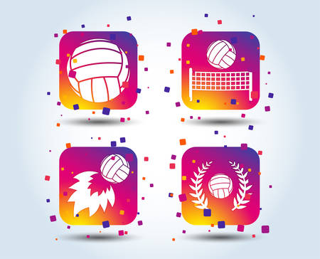 Volleyball and net icons. Winner award laurel wreath symbols. Fireball and beach sport symbol. Colour gradient square buttons. Flat design concept. Vector Illustration