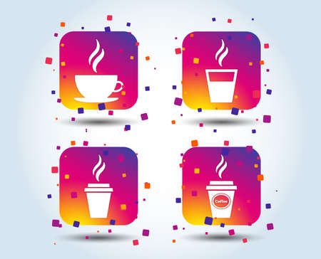 Coffee cup icon. Hot drinks glasses symbols. Take away or take-out tea beverage signs. Colour gradient square buttons. Flat design concept. Vector