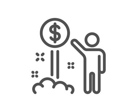 Income money line icon. Wealth sign. Credit card symbol. Quality design element. Classic style income wealth. Editable stroke. Vector Illustration