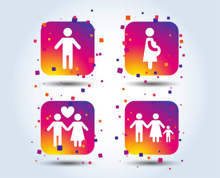 Family lifetime icons. Couple love, pregnancy and birth of a child symbols. Human male person sign. Colour gradient square buttons. Flat design concept. Vector Illustration