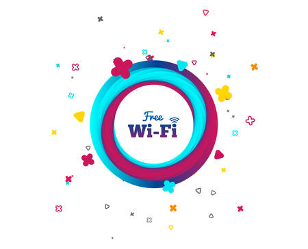 Free wifi sign. Wifi symbol. Wireless Network icon. Wifi zone. Colorful button with icon. Geometric elements. Vector Vectores