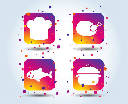 Chief hat and cooking pan icons. Fish and chicken signs. Boil or stew food symbol. Colour gradient square buttons. Flat design concept. Vector