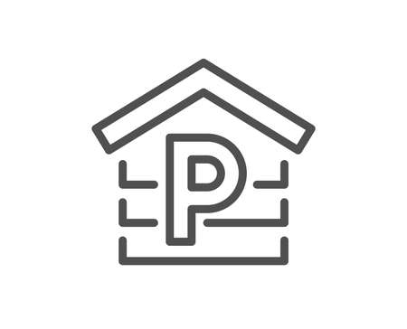 Parking line icon. Car park sign. Transport place garage symbol. Quality design element. Classic style. Editable stroke. Vector 版權商用圖片 - 108256708