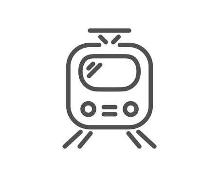 Train transport line icon. Public transportation sign. Tram symbol. Quality design element. Classic style train. Editable stroke. Vector