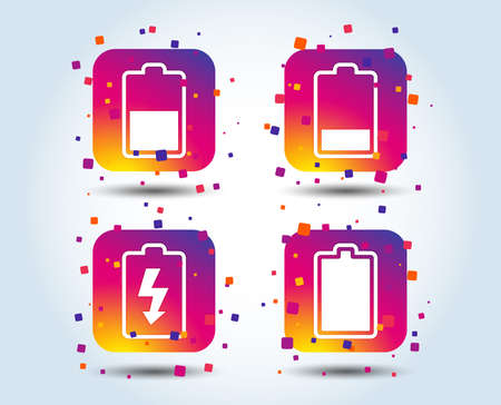 Battery charging icons. Electricity signs symbols. Charge levels: full, half and low. Colour gradient square buttons. Flat design concept. Vector Illusztráció