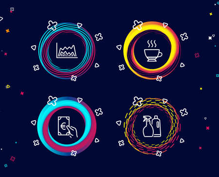 Set of Espresso, Trade chart and Finance icons. Shampoo and spray sign. Hot drink, Market data, Eur cash. Washing liquids.  Circle banners with line icons. Gradient colors shapes. Vector