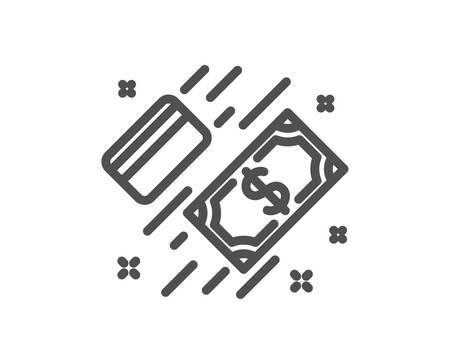 Money line icon. Payment methods sign. Credit card symbol. Quality design element. Classic style money. Editable stroke. Vector Illustration