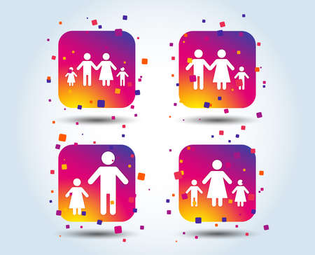 Family with two children icon. Parents and kids symbols. One-parent family signs. Mother and father divorce. Colour gradient square buttons. Flat design concept. Vector