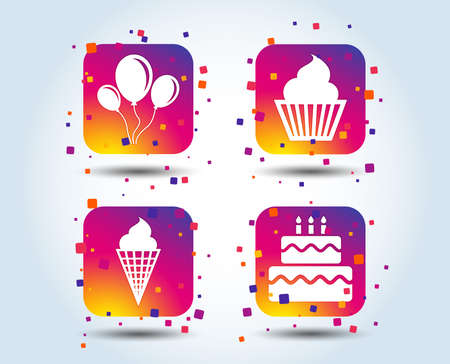 Birthday party icons. Cake with ice cream signs. Air balloons with rope symbol. Colour gradient square buttons. Flat design concept. Vector