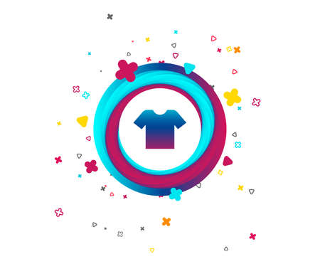 T-shirt sign icon. Clothes symbol. Colorful button with icon. Geometric elements. Vector