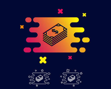 Cash money line icon. Banking currency sign. Dollar or USD symbol. Gradient banner with line icon. Abstract shape. Vector