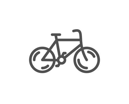 Bicycle transport line icon. Bike public transportation sign. Driving symbol. Quality design element. Classic style bicycle. Editable stroke. Vector Illustration
