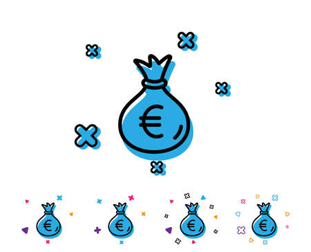 Money bag line icon. Cash Banking currency sign. Euro or EUR symbol. Line icon with geometric elements. Bright colourful design. Vector 向量圖像