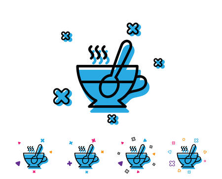 Cup with spoon line icon. Fresh beverage sign. Latte or Coffee symbol. Line icon with geometric elements. Bright colourful tea cup design. Vector Çizim
