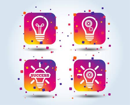 Light lamp icons. Lamp bulb with cogwheel gear symbols. Idea and success sign. Colour gradient square buttons. Flat design concept. Vector Illustration