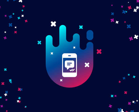 Phone Message simple icon. Mobile chat sign. Conversation or SMS symbol. Cool banner with icon. Abstract shape with gradient. Vector