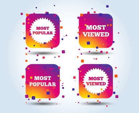 Most popular star icon. Most viewed symbols. Clients or customers choice signs. Colour gradient square buttons. Flat design concept. Vector