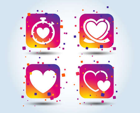Heart ribbon icon. Timer stopwatch symbol. Love and Heartbeat palpitation signs. Colour gradient square buttons. Flat design concept. Vector