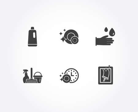 Set of Shampoo, Rubber gloves and Dishwasher timer icons. Clean dishes, Household service and Window cleaning signs. Bath cleanser, Hygiene equipment, Cleaning dishes. Vector