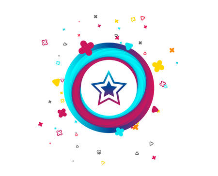 Star sign icon. Favorite button. Navigation symbol. Colorful button with icon. Geometric elements. Vector Illustration