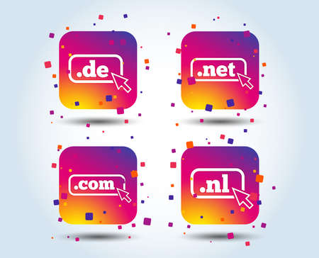 Top-level internet domain icons. De, Com, Net and Nl symbols with cursor pointer. Unique national DNS names. Colour gradient square buttons. Flat design concept. Vector