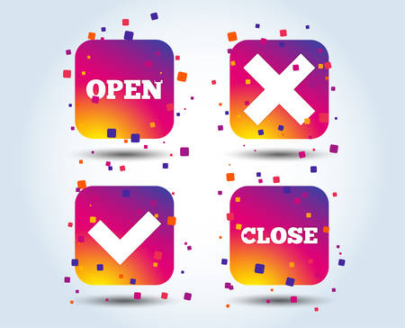 Open and Close icons. Check or Tick. Delete remove signs. Yes correct and cancel symbol. Colour gradient square buttons. Flat design concept. Vector Illustration