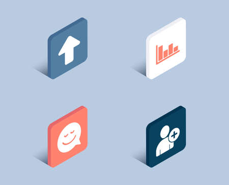 Set of Smile, Upload and Histogram icons. Add user sign. Chat emotion, Load arrowhead, Economic trend. Profile settings.  3d isometric buttons. Flat design concept. Vector