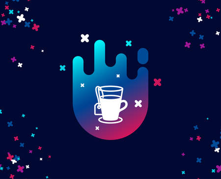 Tea with bag simple icon. Hot drink sign. Fresh beverage symbol. Cool banner with icon. Abstract shape with gradient. Vector