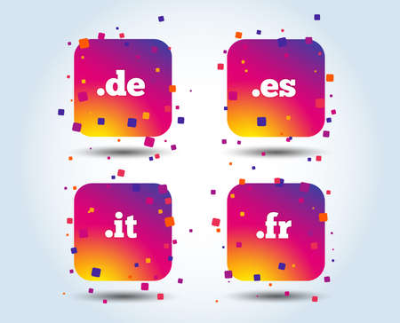 Top-level internet domain icons. De, It, Es and Fr symbols. Unique national DNS names. Colour gradient square buttons. Flat design concept. Vector Illustration