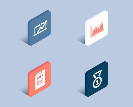 Ensemble d'icônes de document de rapport, de graphique linéaire et de diagramme de vente. Meilleur signe de rang. Fichier de statistiques, diagramme de marché, graphique de croissance des ventes. Médaille de réussite. boutons isométriques 3D. Concept de design plat. Vecteur