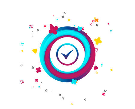 Check mark sign icon. Yes circle symbol. Confirm approved. Colorful button with icon. Geometric elements. Vector
