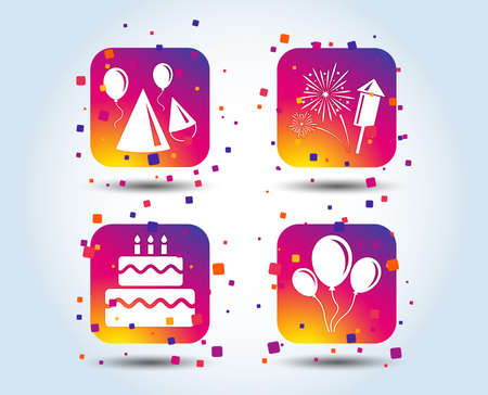 Birthday party icons. Cake, balloon, hat and muffin signs. Fireworks with rocket symbol. Double decker with candle. Colour gradient square buttons. Flat design concept. Vector