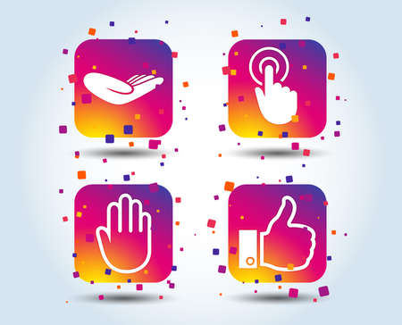 Hand icons. Like thumb up symbol. Click here press sign. Helping donation hand. Colour gradient square buttons. Flat design concept. Vector