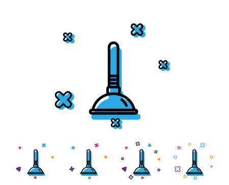 Cleaning plunger line icon. Ð¡leaning of pipe clogs symbol. Housekeeping equipment sign. Line icon with geometric elements. Bright colourful design. Vector