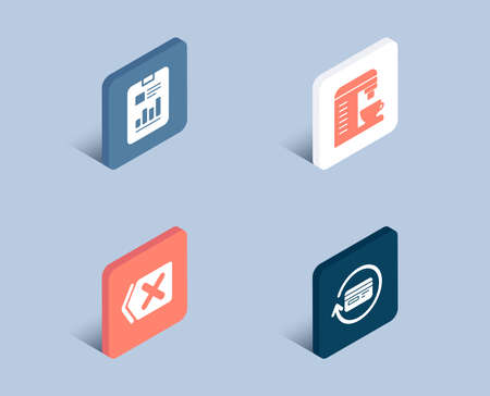 Set of Remove, Coffee machine and Report document icons. Refund commission sign. Delete button, Cappuccino machine, Page with charts. Cashback card.  3d isometric buttons. Flat design concept. Vector
