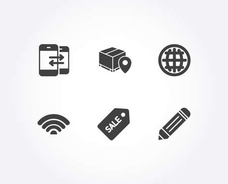 Set of Globe, Parcel tracking and Phone communication icons. Wifi, Sale ticket and Pencil signs. Internet wifi, Package location pin, Incoming and outgoing calls. Vector Illustration