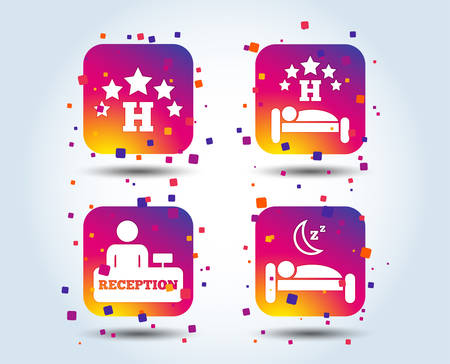 Five stars hotel icons. Travel rest place symbols. Human sleep in bed sign. Hotel check-in registration or reception. Colour gradient square buttons. Flat design concept. Vector
