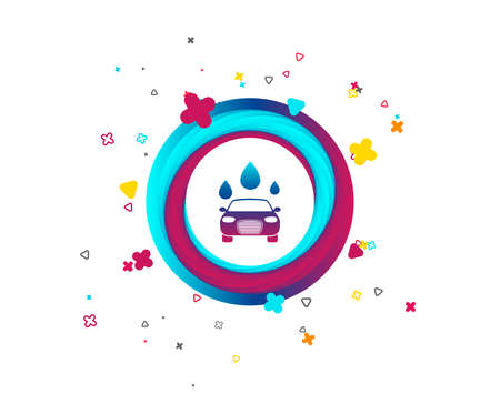 Car wash icon. Automated teller carwash symbol. Water drops signs. Colorful button with icon. Geometric elements. Vector