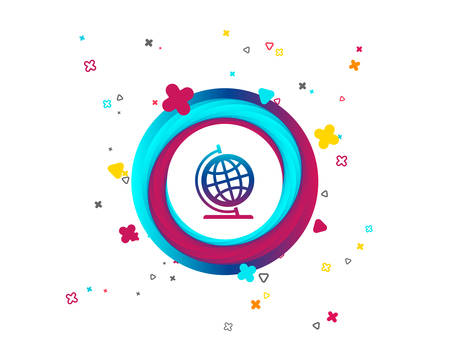 Globe sign icon. Geography symbol. Globe on stand for studying. Colorful button with icon. Geometric elements. Vector