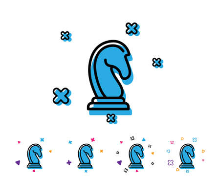 Chess Knight line icon. Marketing strategy symbol. Business targeting sign. Line icon with geometric elements. Bright colourful design. Vector