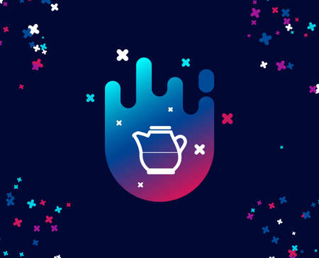 Milk jug for coffee icon. Fresh drink sign. Beverage symbol. Cool banner with icon. Abstract shape with gradient. Vector
