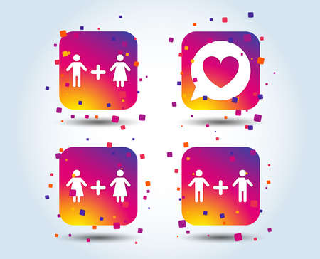 Couple love icon. Lesbian and Gay lovers signs. Romantic homosexual relationships. Speech bubble with heart symbol. Colour gradient square buttons. Flat design concept. Vector