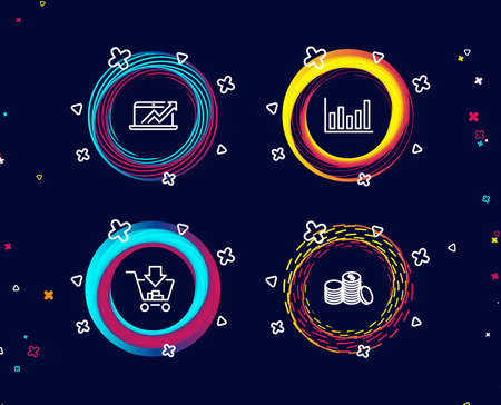 Set of Column chart, Sales diagram and Shopping icons. Banking money sign. Financial graph, Sale growth chart, Add to cart. Cash finance.  Circle banners with line icons. Gradient colors shapes